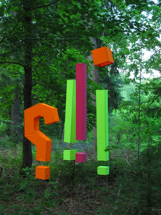 """Punctuation"", 2020 Fabric, metal, paint. DAIRY FOREST (MEIJERIN METSÄ) ENVIRONMENTAL ART EXHIBITION Tue June 2 –Sun August 31, 2020 Sippola, Finland https://www.galleriaantares.fi/exhibitions-2020/"